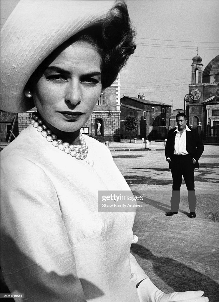 Ingrid Bergman and Anthony Quinn in 1963 during the filming of 'The Visit' in Rome, Italy.