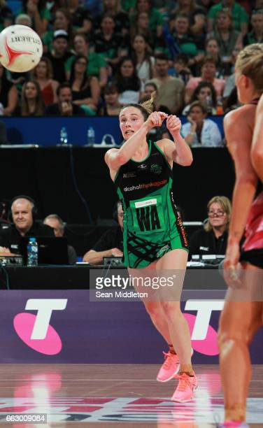 Ingrid Colyer of Fever competes during the round seven Super Netball match between the Fever and the Thunderbirds at Perth Arena on April 1 2017 in...