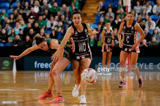 Ingrid Colyer of the Fever and Ashleigh Brazill of the Magpies compete for the ball for the ball during the round 13 Super Netball match between the...