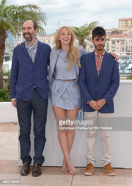 Ingrid Garcia Jonsson Jaime Rosales and Carlos Rodriguez attend the 'Beautiful Youth' photocall at the 67th Annual Cannes Film Festival on May 19...