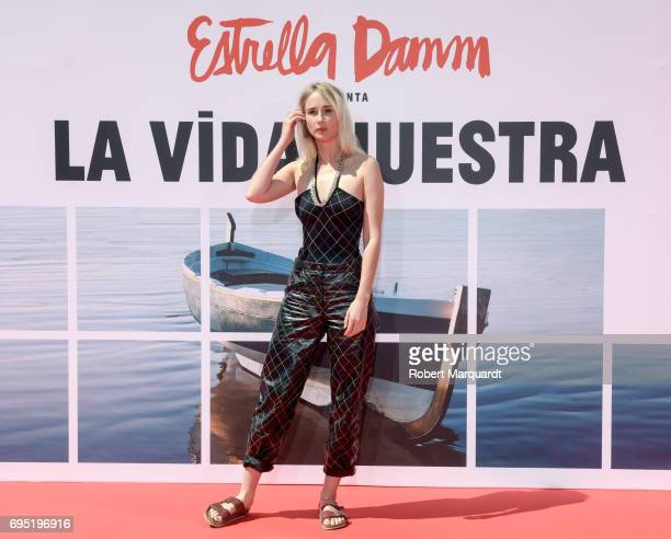 Ingrid GarciaJonsson poses during a photocall for her latest work 'La Vida Nuestra' by Estrella Damm at the Antigua Fabrica Estrella Damn on June 12...