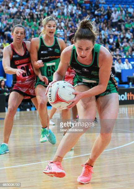 Ingrid Golyer of Fever Fever competes during the round seven Super Netball match between the Fever and the Thunderbirds at Perth Arena on April 1...