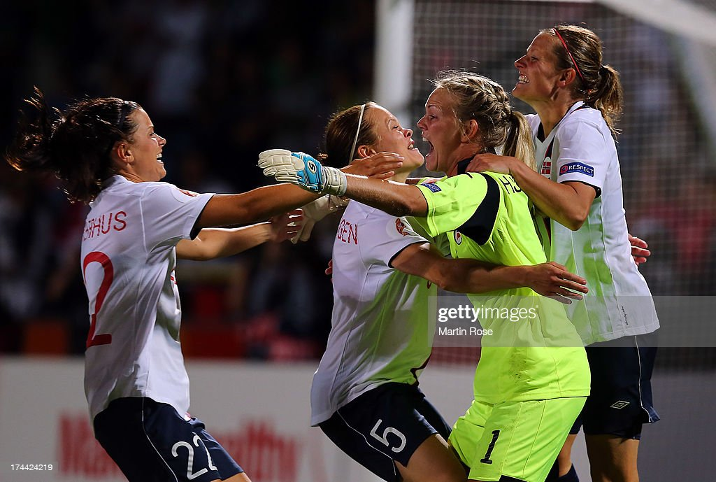Ingrid Hjelmseth (C), goalkeeper of Norway celebrate with nher team mates after winning the UEFA Women's Euro 2013 semi final match between Norway and Denmark at Nya Parken on July 25, 2013 in Norrkoping, Sweden.