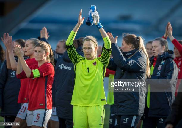 Ingrid Hjelmseth Maren Mjelde of Norway after International Friendly match between Norway v Switzerland at Skagerak Arena on April 10 2017 in Skien...