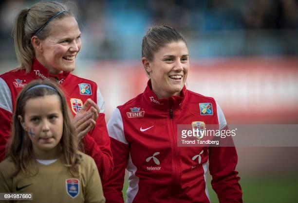Ingrid Hjelmseth Maren Mjelde of Norway before during International Friendly between Norway Woman v USA Women at Komplett Arena on April 11 2017 in...