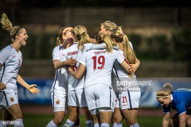 Ingrid Marie Spord Andrine Hegerberg Kristine Minde Ingvild Isaksen Lisa Marie Utland Ada Hegerberg of Norway during the Women's International...