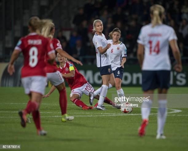 Ingrid Marie Spord Maren Mjelde Ada Hegerberg of Norway during the UEFA Womens«s Euro between Norway v Denmark at Stadion De Adelaarshorst on July 24...