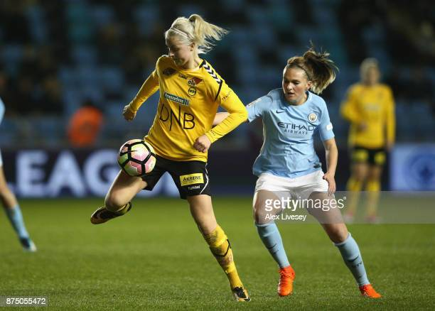 Ingrid Marie Spord of LSK Kvinner holds off a challenge from Melissa Lawley of Manchester City Women during the UEFA Women's Champions League match...