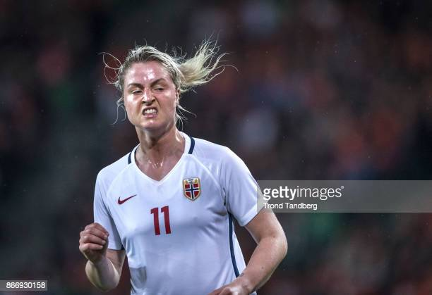 Ingrid Marie Spord of Norway during the FIFA 2018 World Cup Qualifier between Netherland and Norway at Noordlease Stadion on October 24 2017 in...