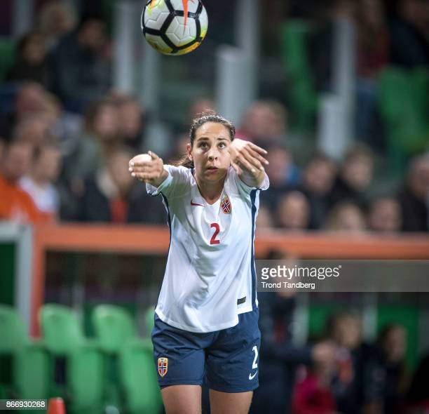 Ingrid Moe Wold of Norway during the FIFA 2018 World Cup Qualifier between Netherland and Norway at Noordlease Stadion on October 24 2017 in Groningen
