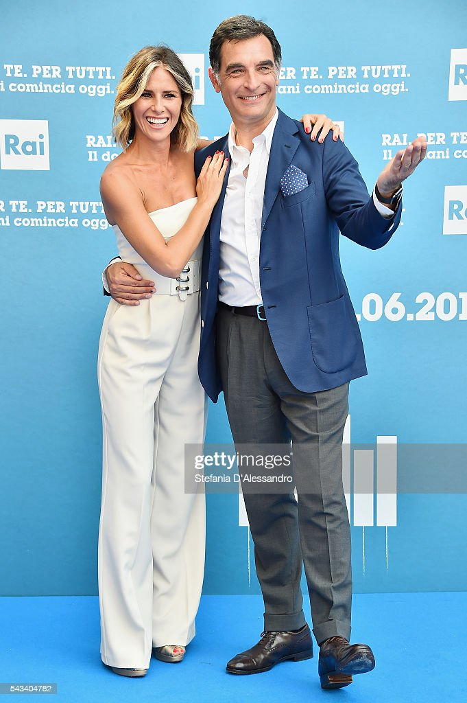 Ingrid Muccitelli and Tiberio Timperi attend Rai Show Schedule Presentation In Milan on June 28 2016 in Milan Italy
