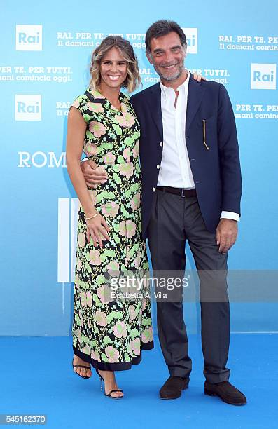 Ingrid Muccitelli and Tiberio Timperi attends the Rai Show Schedule Presentation at Salone Delle Fontane on July 5 2016 in Rome Italy