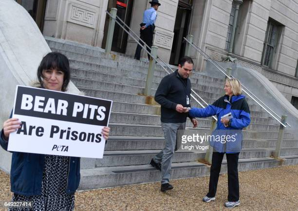Ingrid Newkirk President of PETA hands out literature calling on the USDA to protect the more than 1000 bears in concrete pits roadside zoos and...
