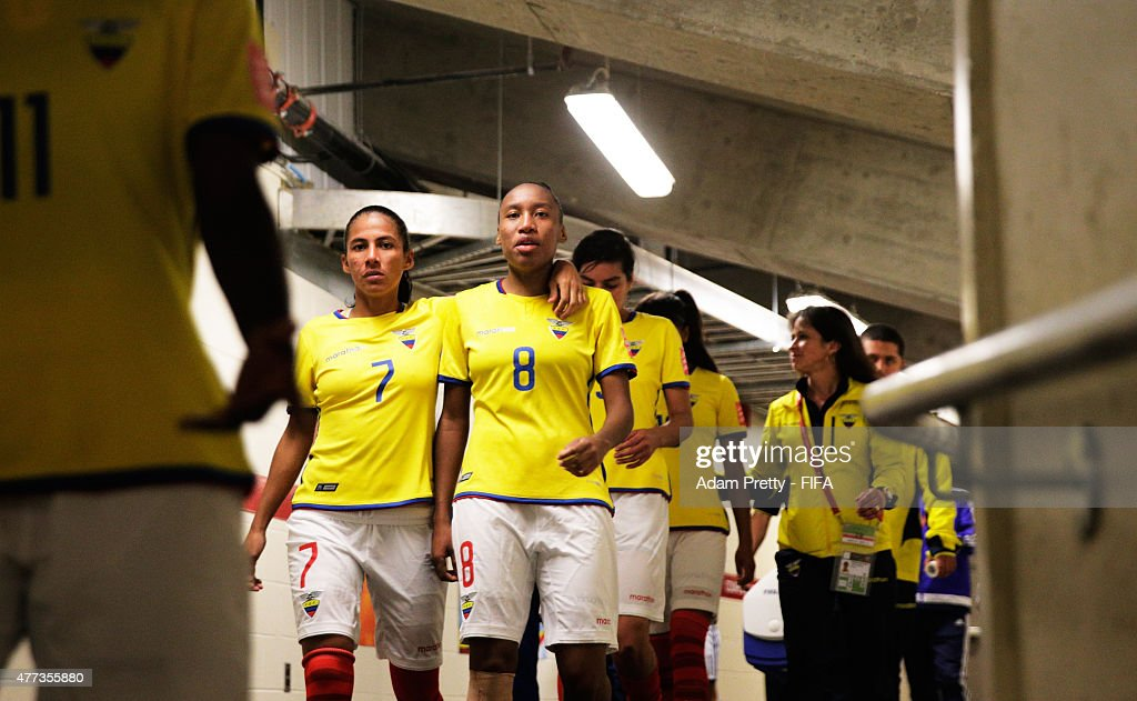 Ingrid Rodriguez of Ecuador Erika Vasquez of Ecuador walk out the field after half time during the FIFA Women's World Cup 2015 Group C match between...