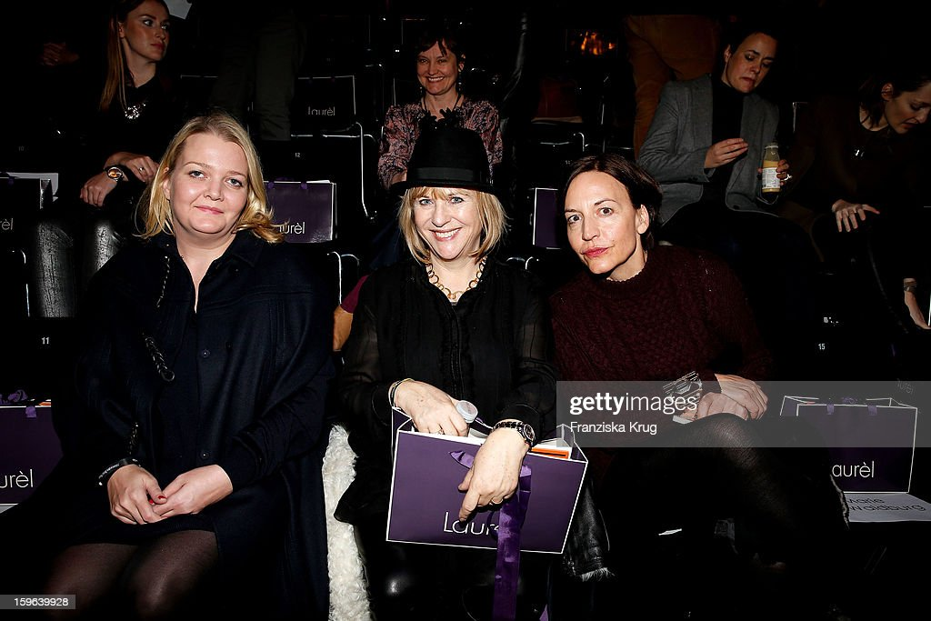 Ingrid Rose, Patrizia Riekel and Petra Pfaller attend the Laurel Autumn/Winter 2013/14 fashion show during Mercedes-Benz Fashion Week Berlin at Brandenburg Gate on January 17, 2013 in Berlin, Germany.