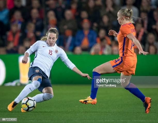Ingrid Schelderup of Norway Jackie Groenen of Netherland during the FIFA 2018 World Cup Qualifier between Netherland and Norway at Noordlease Stadion...