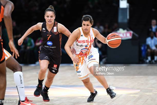 Ingrid Tanqueray of Bourges and Amel Bouderra of Charleville Mezieres during the women's Final of the French Cup between Charleville Mezieres and...
