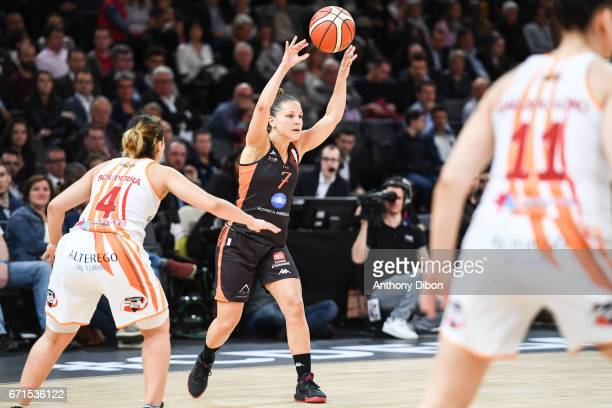 Ingrid Tanqueray of Bourges during the women's Final of the French Cup between Charleville Mezieres and Bourges Basket at AccorHotels Arena on April...