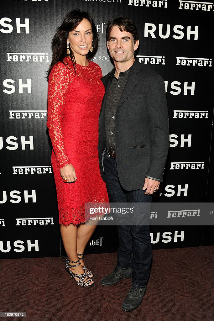 Ingrid Vandebosch (L) and husband race car driver Jeff Gordon attend the Ferrari & The Cinema Society screening of 'Rush' at Chelsea Clearview Cinemas on September 18, 2013 in New York City.