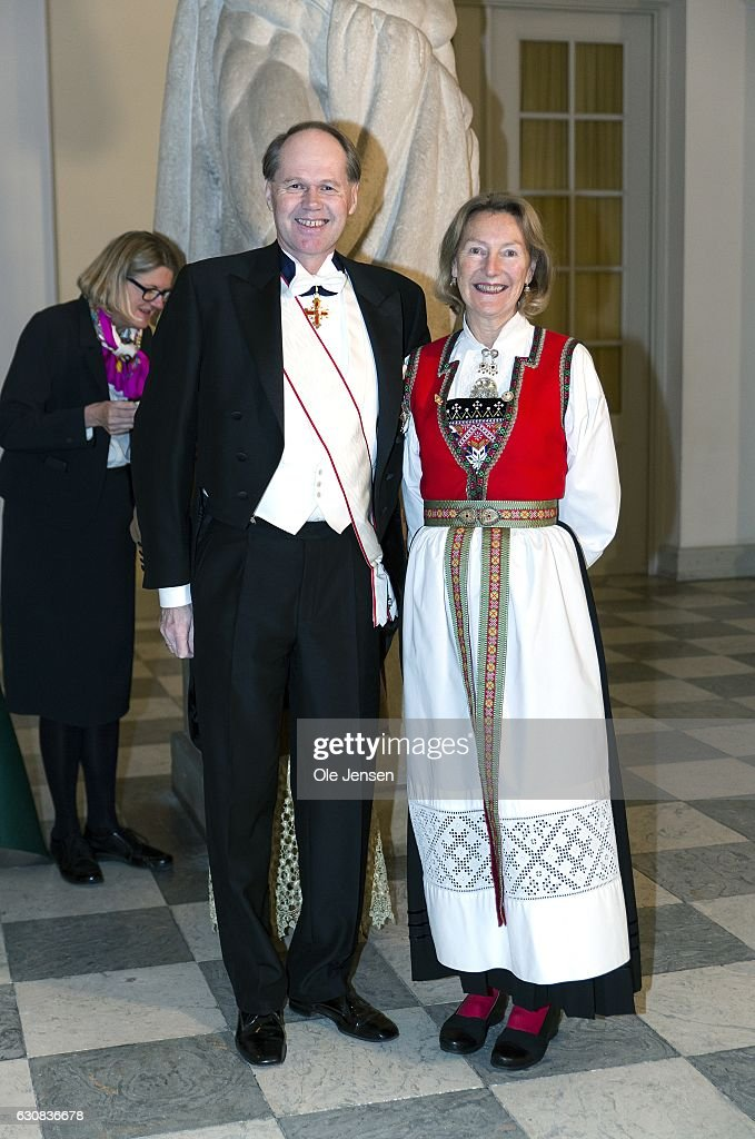 Ingvard Havnen (L) Norwegian ambassador to Denmark and wife arrive to Queen Margrethe of Denmark's New Year's reception at Christiansborg - the parliament building - for the foreign diplomatic corps on January 3, 2017 in Copenhagen, Denmark.