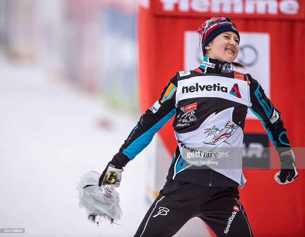 <a gi-track='captionPersonalityLinkClicked' href=/galleries/search?phrase=Ingvild+Flugstad+Oestberg&family=editorial&specificpeople=7427144 ng-click='$event.stopPropagation()'>Ingvild Flugstad Oestberg</a> of Norway celebrates 2nd place at FIS Cross Country World Cup, Tour de Ski, Ladies 10 km Mass Start Classic at Val di Fiemme on January 09, 2016 in Val di Fiemme, Italy.