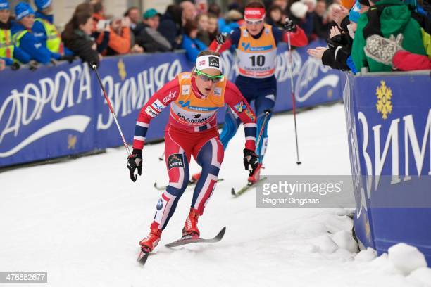 Ingvild Flugstad Oestberg of Norway during the Women's 13km free Sprint Classic Quarterfinal at the Viessmann FIS Cross Country World Cup event on...