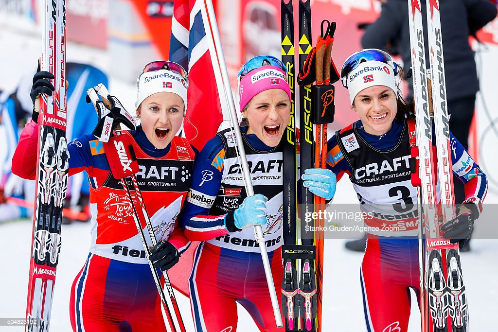 <a gi-track='captionPersonalityLinkClicked' href=/galleries/search?phrase=Ingvild+Flugstad+Oestberg&family=editorial&specificpeople=7427144 ng-click='$event.stopPropagation()'>Ingvild Flugstad Oestberg</a> of Norway takes 2nd place,<a gi-track='captionPersonalityLinkClicked' href=/galleries/search?phrase=Therese+Johaug&family=editorial&specificpeople=4176080 ng-click='$event.stopPropagation()'>Therese Johaug</a> of Norway takes 1st place,<a gi-track='captionPersonalityLinkClicked' href=/galleries/search?phrase=Heidi+Weng&family=editorial&specificpeople=8660218 ng-click='$event.stopPropagation()'>Heidi Weng</a> of Norway takes 3rd place during the FIS Nordic World Cup Men's and Women's Cross Country Tour de Ski on January 10, 2016 in Val di Fiemme, Italy.