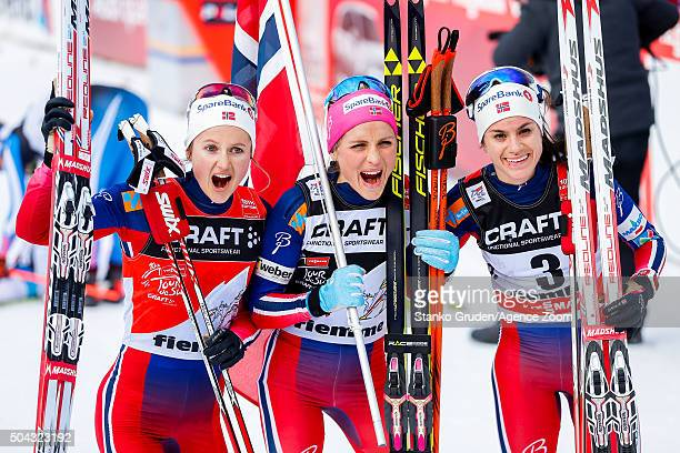Ingvild Flugstad Oestberg of Norway takes 2nd placeTherese Johaug of Norway takes 1st placeHeidi Weng of Norway takes 3rd place during the FIS Nordic...