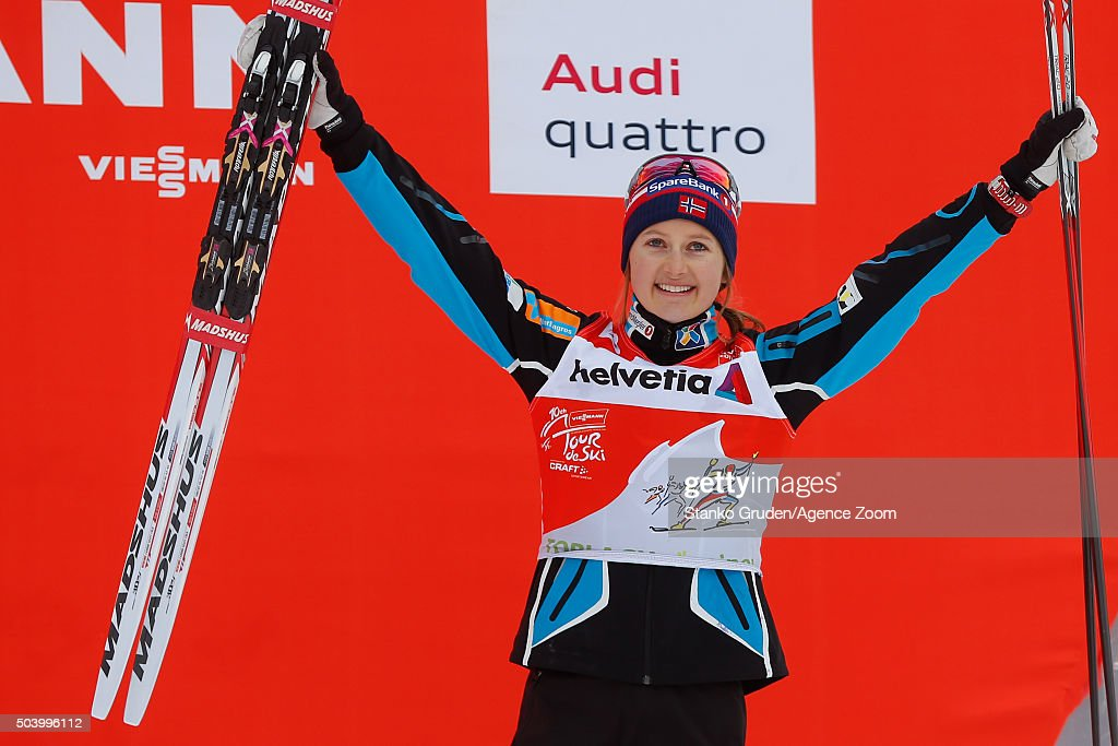 <a gi-track='captionPersonalityLinkClicked' href=/galleries/search?phrase=Ingvild+Flugstad+Oestberg&family=editorial&specificpeople=7427144 ng-click='$event.stopPropagation()'>Ingvild Flugstad Oestberg</a> of Norway takes 3rd place during the FIS Nordic World Cup Men's and Women's Cross Country Tour de Ski on January 8, 2016 in Toblach Hochpustertal, Italy.
