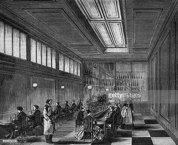 Inhalation room in medical gymnasium in Paris spraying of mineral waters to treat breathing illness illustration from paper 'ParisTheatre' 18751876