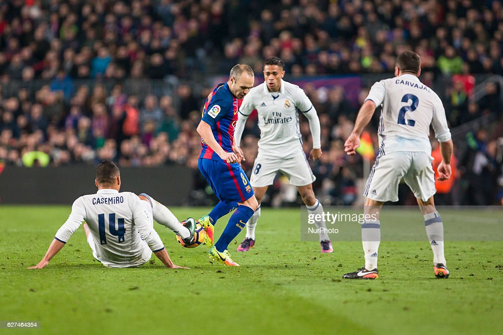 Iniesta during the match between FC Barcelona vs Real Madrid for the round 14 of the Liga Santander played at Camp Nou Stadium on 3th December 2016...
