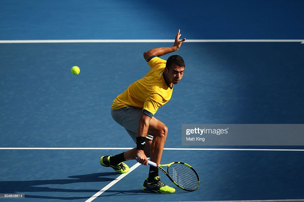 Inigo Cervantes of Spain plays a backhand volley in his match against James Duckworth of Australia during day three of the 2016 Sydney International at Sydney Olympic Park Tennis Centre on January 12, 2016 in Sydney, Australia.