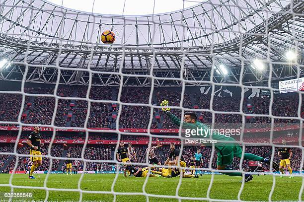Inigo Lekue of Athletic Club scores his team's first goal during the La Liga match between Athletic Club and Club Atletico de Madrid at San Mames...