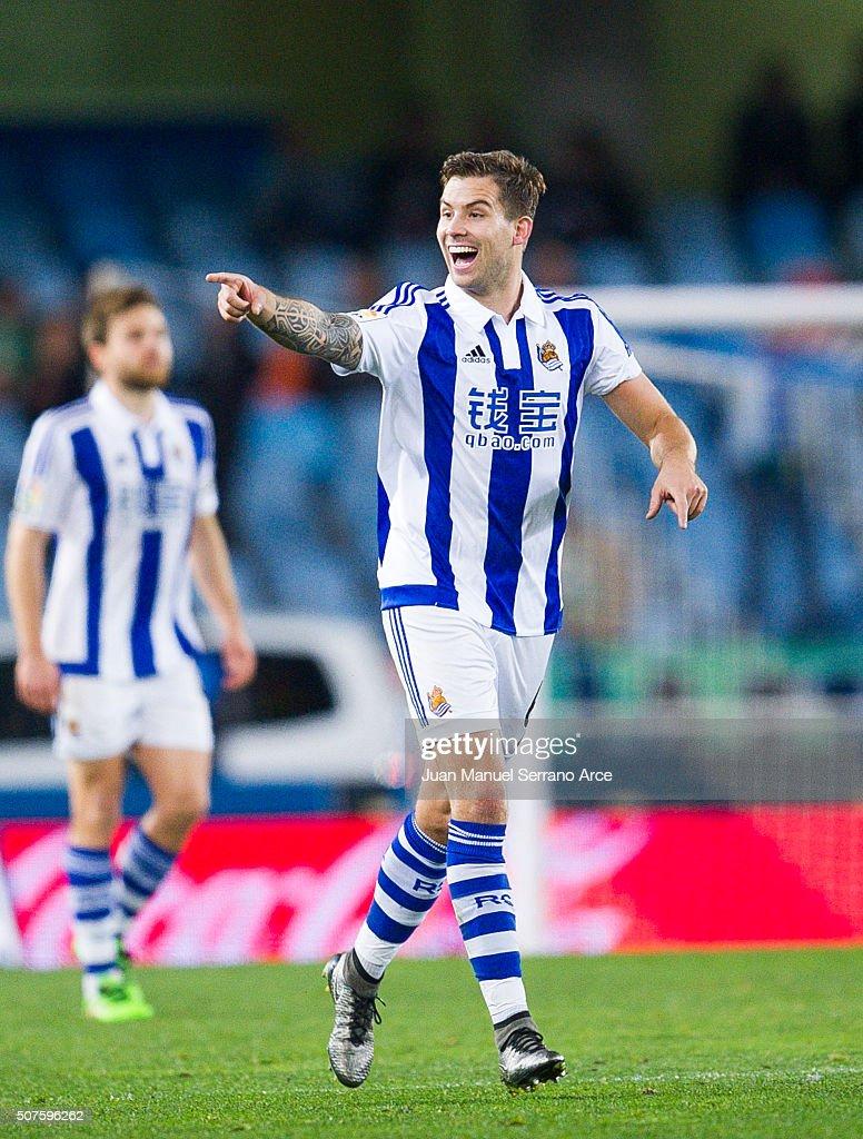 Inigo Martinez of Real Sociedad celebrates after scoring his team's second goal during the La Liga match between Real Sociedad de Futbol and Real...