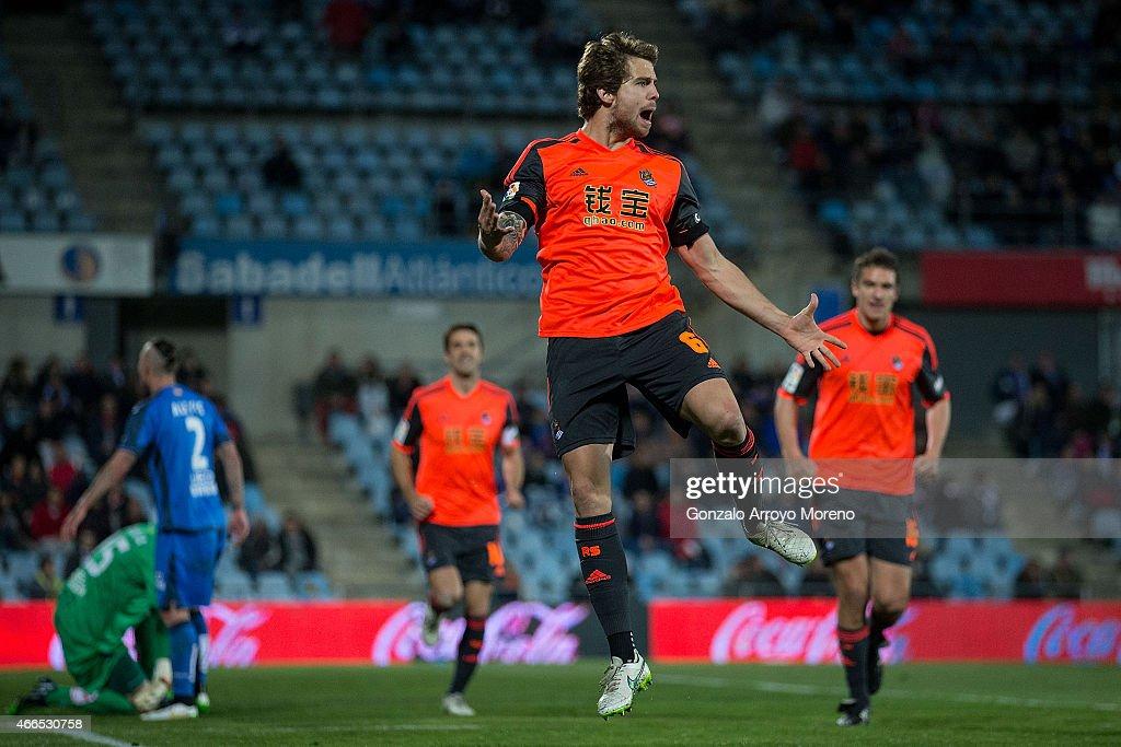 Inigo Martinez of Real Sociedad de Futbol celebrates scoring their opening goal during the La Liga match between Getafe CF and Real Sociedad de...