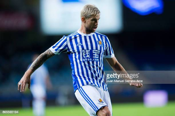 Inigo Martinez of Real Sociedad reacts during the La Liga match between Real Sociedad de Futbol and RCD Espanyol at Estadio Anoeta on October 23 2017...