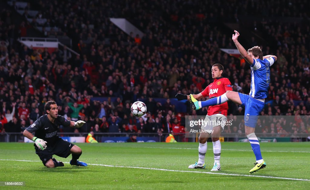 Inigo Martinez of Real Sociedad scores an own goal to make the score 10 during the UEFA Champions League Group A match between Manchester United and...