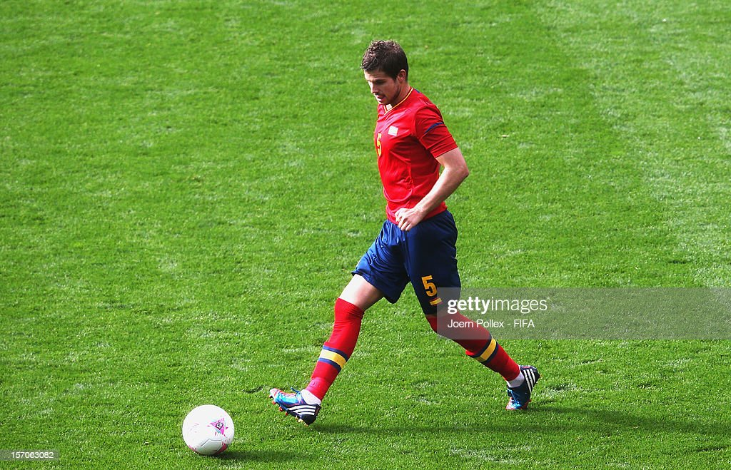 Inigo Martinez of Spain controls the ball during the Men's Football first round Group D match between the Spain and Morocco on Day 5 of the London...