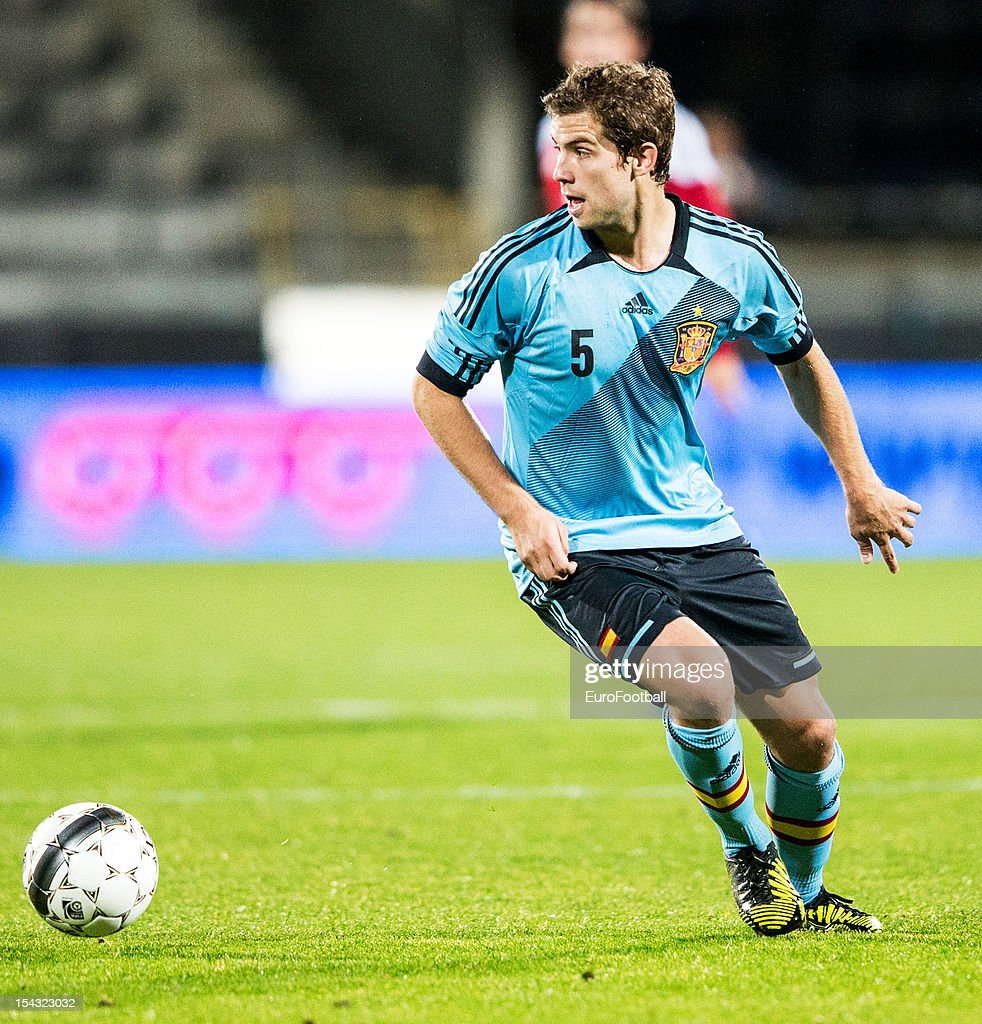 Inigo Martinez of Spain in action during the UEFA European Under21 Championship playoff second leg match between Denmark and Spain held on October 16...
