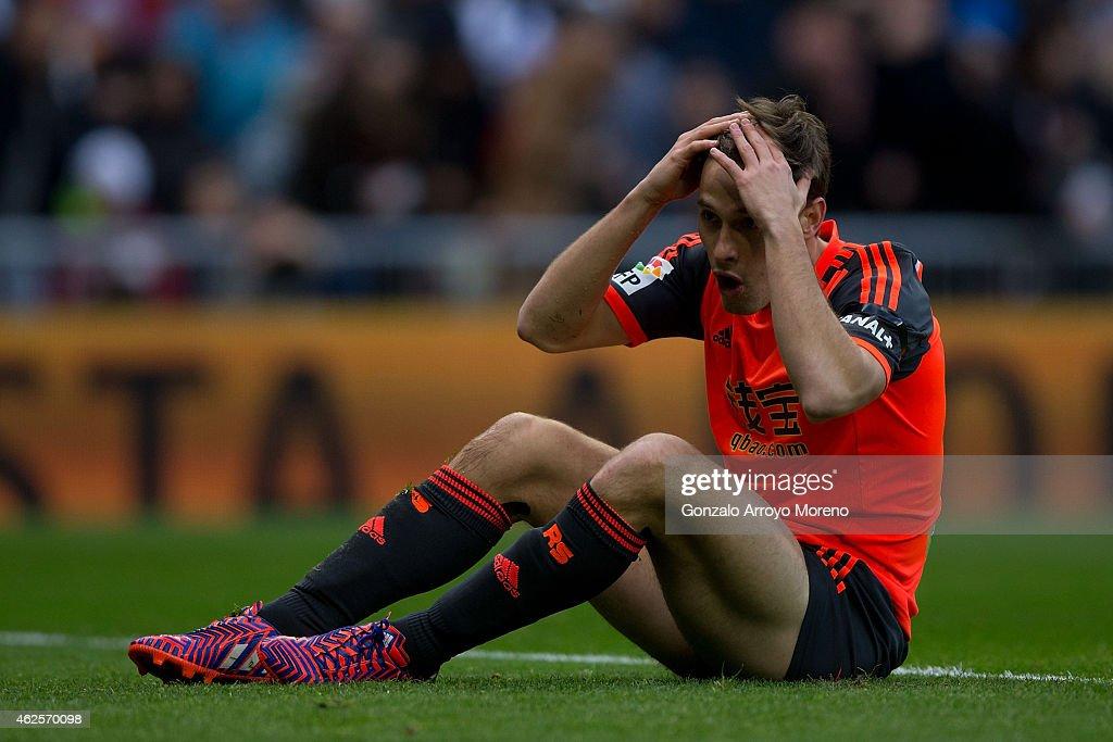 Inigo Martinez Real Sociedad de Futbol reacts as he fail to score during the La Liga match between Real Madrid CF and Real Sociedad de Futbol at...
