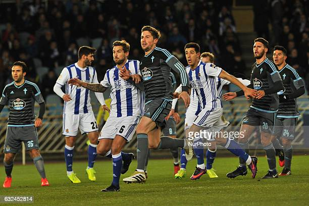 Inigo Martinez Yuri Berchiche of Real Sociedad and Sergi Gomez Rossi of RC Celta Vigoduring the Spanish league football match between Real Sociedad...