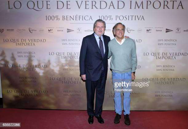 Inigo Mendez de Vigo and Paco Arango attend the 'Lo Que De Verdad Importa' premiere at the Hotel Vincci Capitol on February 15 2017 in Madrid Spain