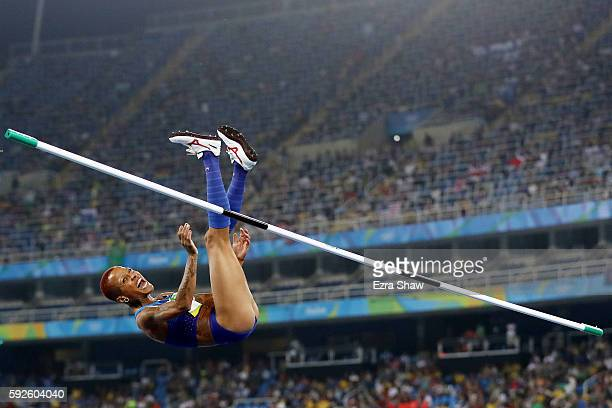 Inika McPherson of the United States competes during the Women's High Jump Final on Day 15 of the Rio 2016 Olympic Games at the Olympic Stadium on...