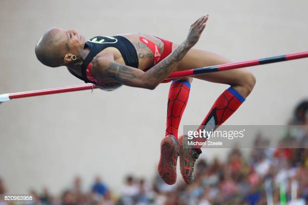Inika McPherson of USA in action during the women's high jump during the IAAF Diamond League Meeting Herculis on July 21 2017 in Monaco Monaco