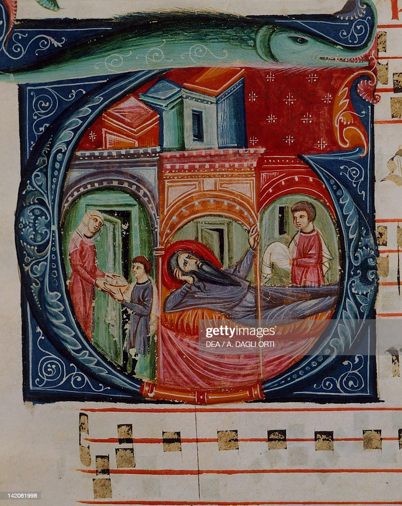 Initial capital letter G depicting a biblical scene, miniature from a medieval choral manuscript, Latin manuscript, 13th Century.