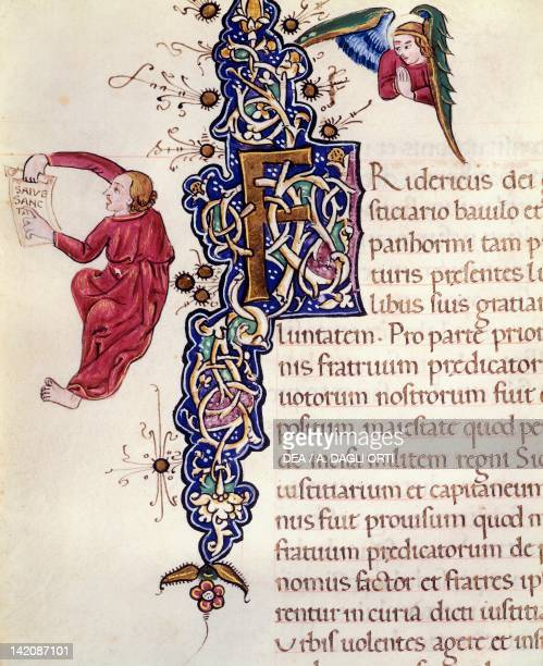 Initial capital letter miniature from the Book of Privileges by Federico d'Aragona Italy 14th15th Century