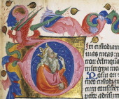 Initial capital letter with King David miniature from Breviary of the patriarch by Aquileia Ludovico Teck manuscript C 237 folio 70 verso ca 1350