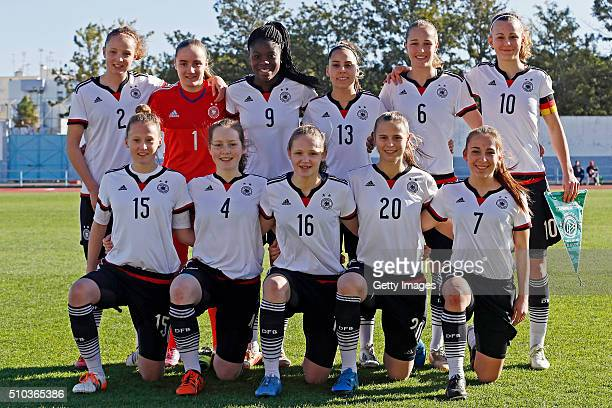 Initial players of Germany during the match of the U16 Girl's Germany v U16 Girl's France UEFA Tournament on February 15 2016 in Vila Real de Santo...