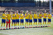 Initial team for Sweden during the Women's Algarve Cup 3rd place match between Sweden and Germany at Municipal Stadium Bela Vista on March 11 2015 in...