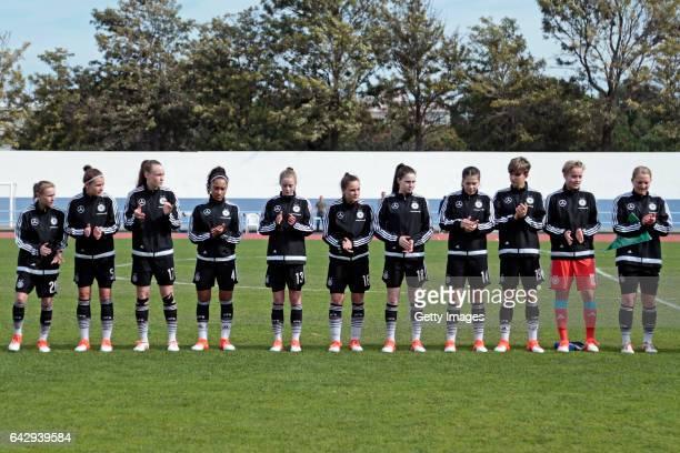 Initial team of Germany U16 Girls Laura Donhauser Sophie Trepohl Louise Trapp Vanessa Fürst Julia Gärtner Sanja Homann Johanna Biermann Anika Metzner...